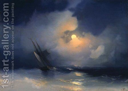 Storm at Sea on a Moonlit Night by Ivan Konstantinovich Aivazovsky - Reproduction Oil Painting