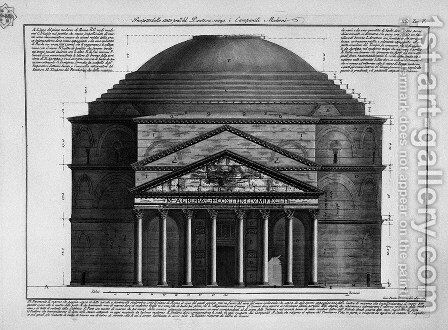 Face of the balance of the Pantheon without roesent Modern Bell by Giovanni Battista Piranesi - Reproduction Oil Painting