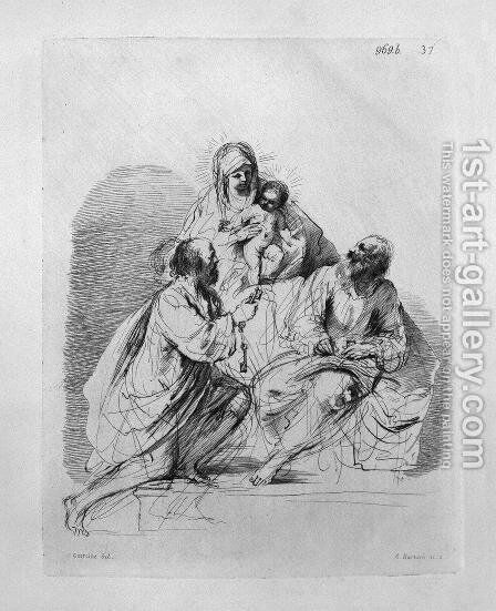 The Blessed Virgin with Saints Peter and Paul, by Guercino by Giovanni Battista Piranesi - Reproduction Oil Painting