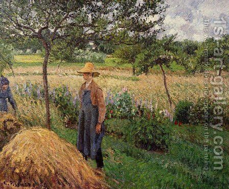 Grey Weather, Morning with Figures, Eragny 2 by Camille Pissarro - Reproduction Oil Painting