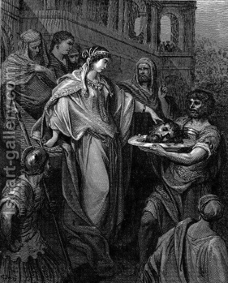 The Daughter Of Herod Head Of John The Baptist by Gustave Dore - Reproduction Oil Painting