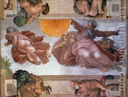Sistine Chapel Ceiling Creation of the Sun and Moon by Michelangelo - Reproduction Oil Painting