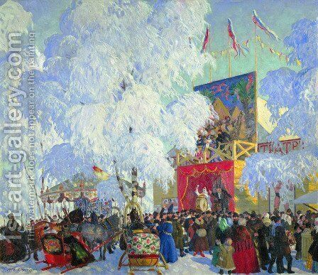 Show Booths by Boris Kustodiev - Reproduction Oil Painting