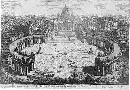 Piazza San Pietro by Giovanni Battista Piranesi - Reproduction Oil Painting