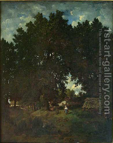 Village under the trees by Theodore Rousseau - Reproduction Oil Painting
