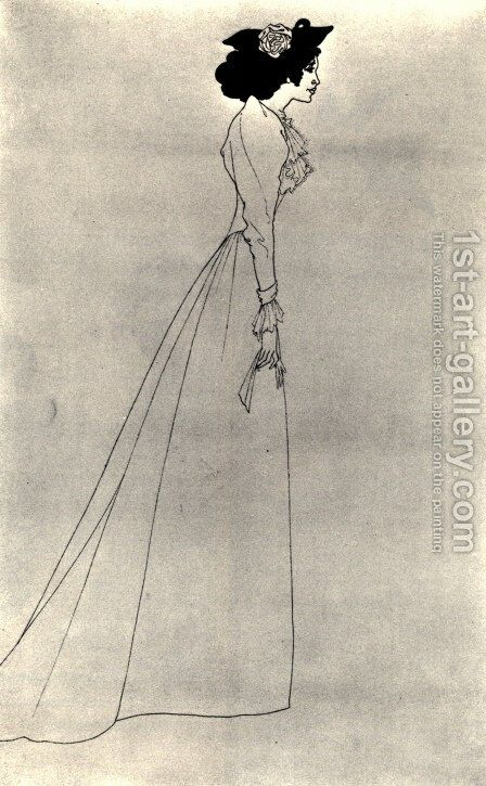 Mrs Patrick Campbell by Aubrey Vincent Beardsley - Reproduction Oil Painting