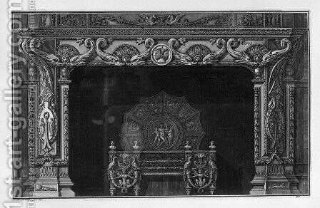 Fireplace four pairs in the frieze of dolphins addressed; a rich interior wing by Giovanni Battista Piranesi - Reproduction Oil Painting