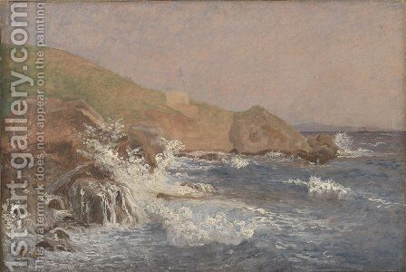 Rough Sea on a Rocky Coast by Christen Kobke - Reproduction Oil Painting