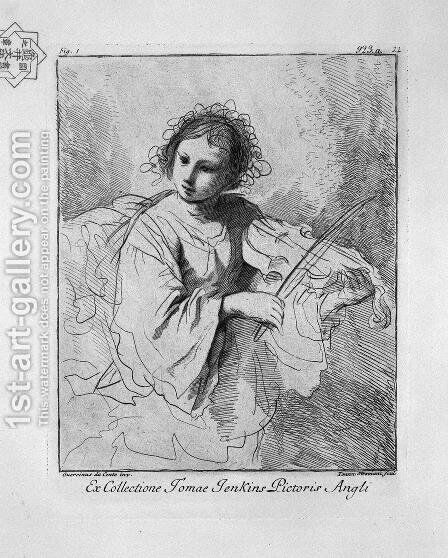 Young woman playing the violin by Giovanni Battista Piranesi - Reproduction Oil Painting