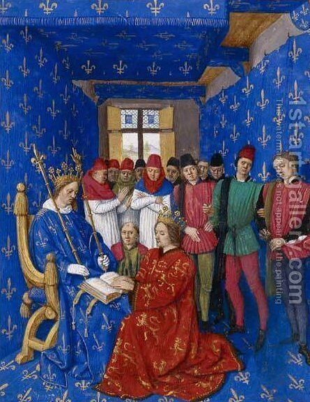 Tribute of Edward III to Philip by Jean Fouquet - Reproduction Oil Painting