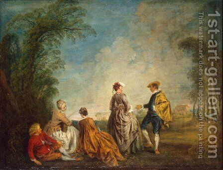An Embarrasing Proposal by Jean-Antoine Watteau - Reproduction Oil Painting