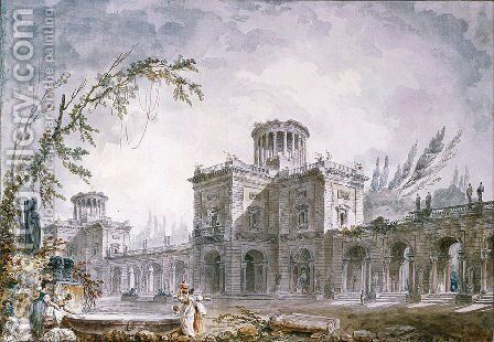Architectural Fantasy by Hubert Robert - Reproduction Oil Painting