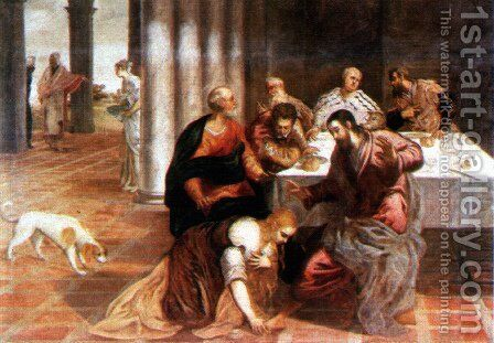 Christ in the house of the Pharisee by Jacopo Tintoretto (Robusti) - Reproduction Oil Painting