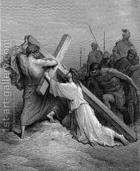Jesus Falling Beneath The Cross by Gustave Dore - Reproduction Oil Painting