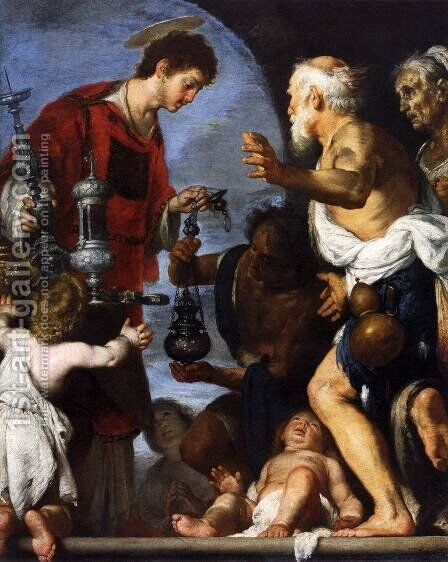 The Charity of St. Lawrence 2 by Bernardo Strozzi - Reproduction Oil Painting