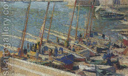 Boats in Port Collioure 3 by Henri Martin - Reproduction Oil Painting