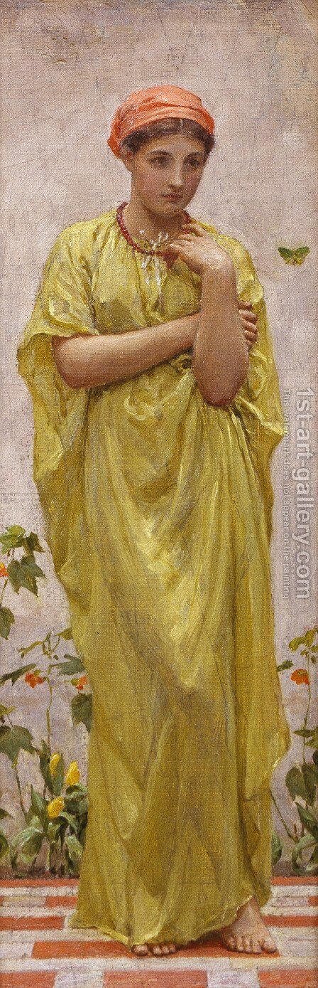 A Study in Yellow by Albert Joseph Moore - Reproduction Oil Painting