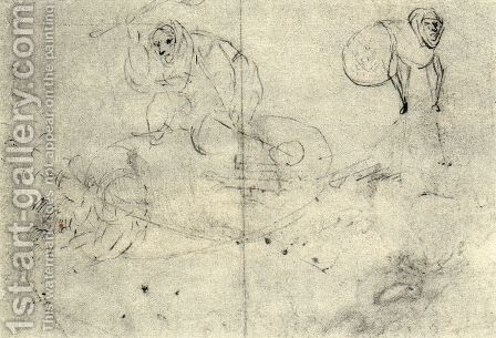 Figure in a beehive and a monsterb (A cursory sketch of two women) by Hieronymous Bosch - Reproduction Oil Painting