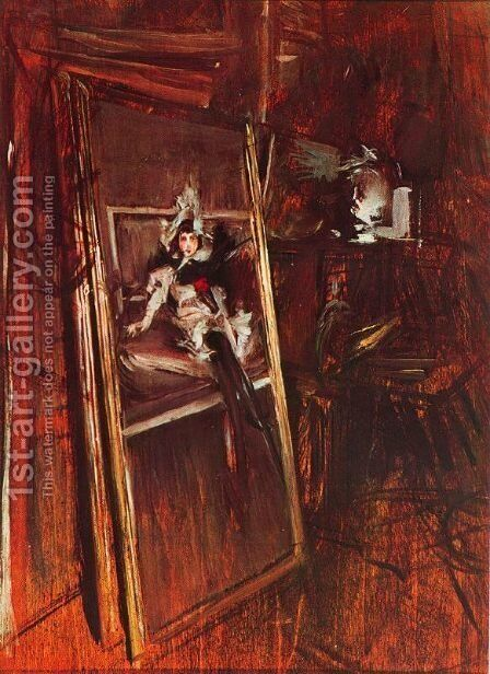 Inside the Studio of the Painter with Errazuriz Damsel by Giovanni Boldini - Reproduction Oil Painting