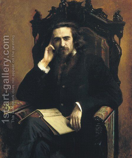 Portarait of philosopher Vladimir Solovyov by Ivan Nikolaevich Kramskoy - Reproduction Oil Painting