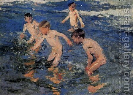 Bathing by Joaquin Sorolla y Bastida - Reproduction Oil Painting