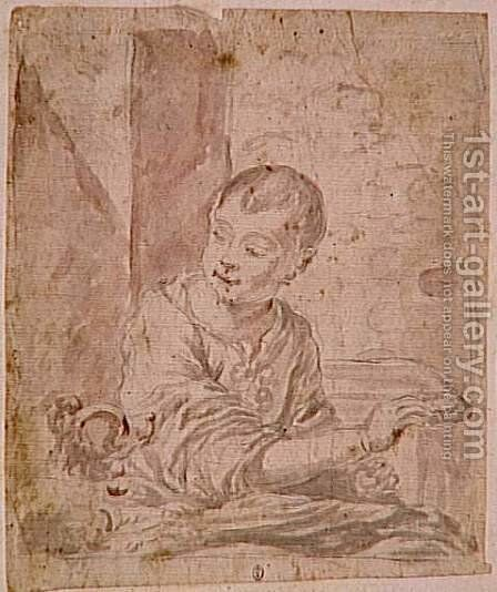Child watching a dog by Bartolome Esteban Murillo - Reproduction Oil Painting