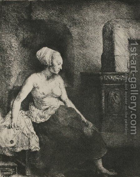 A Woman Seated Before a Dutch Stove by Rembrandt - Reproduction Oil Painting