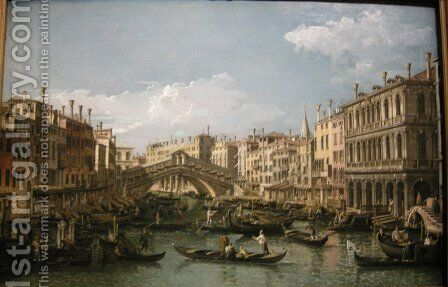 Grand canal, view from north by Bernardo Bellotto (Canaletto) - Reproduction Oil Painting