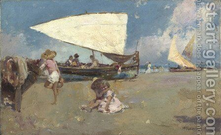 Children on a Sunny Beach by Antonio Mancini - Reproduction Oil Painting