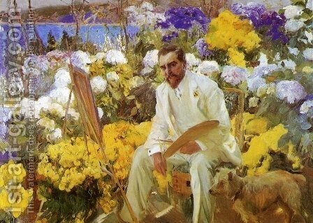 Louis Comfort Tiffany by Joaquin Sorolla y Bastida - Reproduction Oil Painting