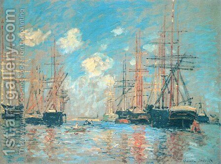 The Sea, Port in Amsterdam by Claude Oscar Monet - Reproduction Oil Painting