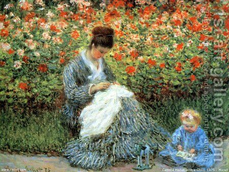 Camille Monet and a Child in the Artist's Garden in Argenteuil by Claude Oscar Monet - Reproduction Oil Painting