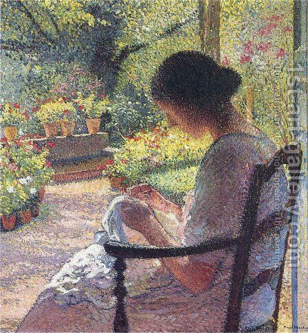 A Woman Sewing by Henri Martin - Reproduction Oil Painting