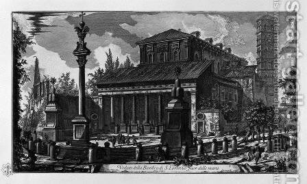 View of the facade of the Basilica of St. Cross in Jerusalem by Giovanni Battista Piranesi - Reproduction Oil Painting