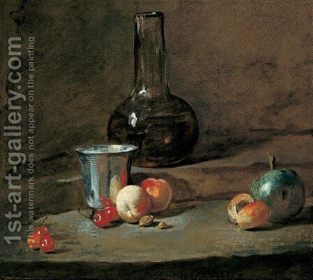 The Silver Goblet 2 by Jean-Baptiste-Simeon Chardin - Reproduction Oil Painting