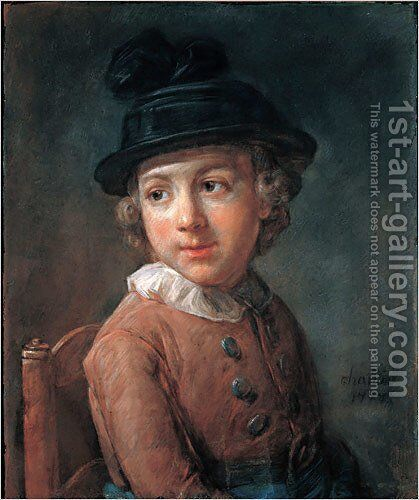 Portrait of a child by Jean-Baptiste-Simeon Chardin - Reproduction Oil Painting