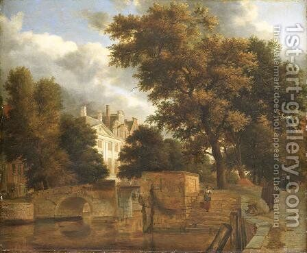 The stone bridge by Adriaen Van De Velde - Reproduction Oil Painting
