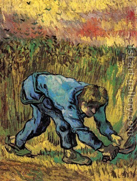 Reaper with Sickle (after Millet) 3 by Vincent Van Gogh - Reproduction Oil Painting
