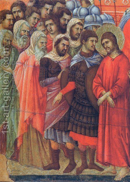 Pilate washes his hands by Duccio Di Buoninsegna - Reproduction Oil Painting