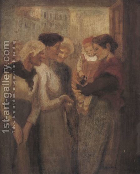 Women Conversing by Theophile Alexandre Steinlen - Reproduction Oil Painting