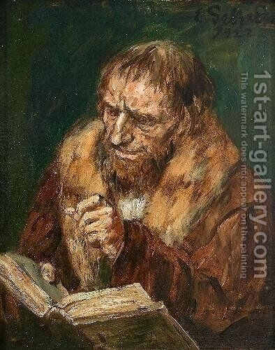 Man Reading by Eduard Karl Franz von Gebhardt - Reproduction Oil Painting