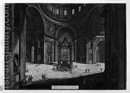 Interior view of the Basilica of St. Peter in the Vatican by Giovanni Battista Piranesi - Reproduction Oil Painting