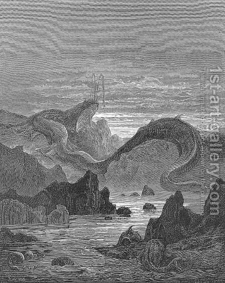 And seems a moving land  and at his gills Draws in, and at his trunk spouts out, a sea by Gustave Dore - Reproduction Oil Painting