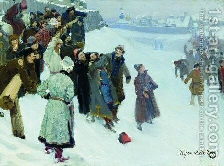 Fist fight on the Moscow River by Boris Kustodiev - Reproduction Oil Painting