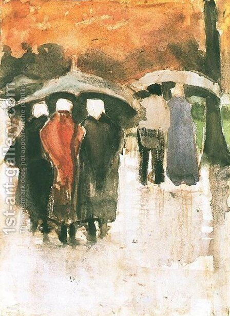 Scheveningen Women and Other People Under Umbrellas by Vincent Van Gogh - Reproduction Oil Painting