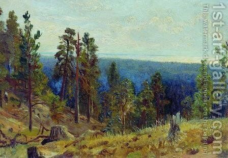 Forest horizont by Ivan Shishkin - Reproduction Oil Painting