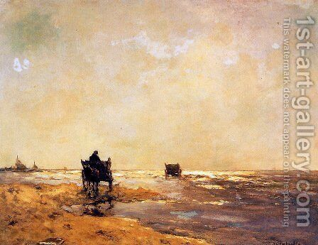 Beach view by Jan Hendrik Weissenbruch - Reproduction Oil Painting