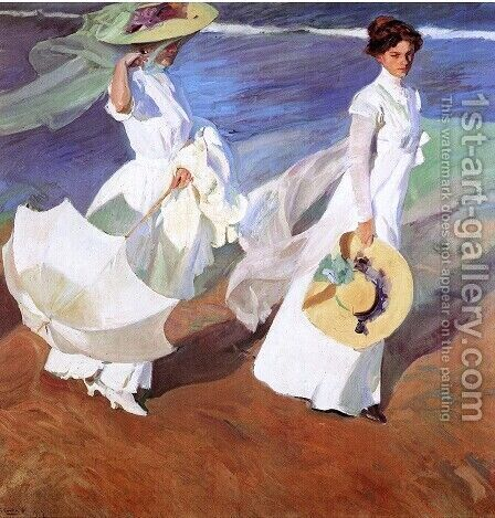 Promenade by the Sea by Joaquin Sorolla y Bastida - Reproduction Oil Painting