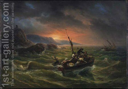 Pirates Fighting at Sunrise by Horace Vernet - Reproduction Oil Painting