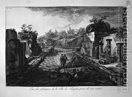 Entrance to the city of Pompeii with the existing factories outside the door by Giovanni Battista Piranesi - Reproduction Oil Painting